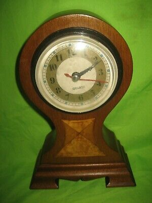 Antique / Vintage  Wooden Inlaid Balloon Quartz  Mantle Clock