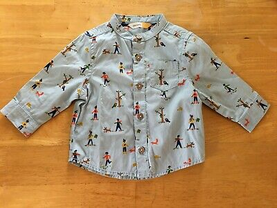 John Lewis baby shirt cotton 0-3months blue cute print perfect condition