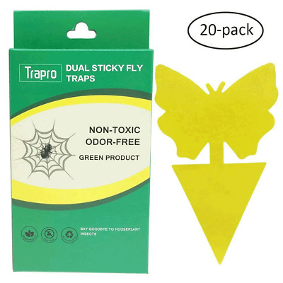 Trapro Dual Sticky Fly Traps for Houseplant Fly Insect Control, Non-Toxic and -