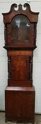 Antique English 8 Day Oak & Mahogany Moonphase Grandfather Longcase Clock