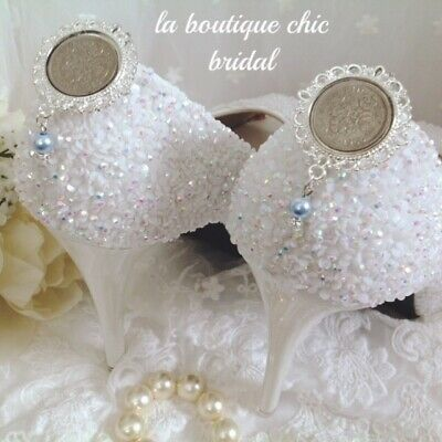 "Bride Wedding ""Lucky Sixpence"" Bridal Shoe Clips Blue Pearl ""Something Old"""