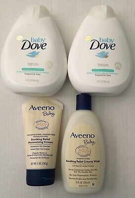 4- BABY SKIN CARE PRODUCTS(  Aveeno  + Dove)