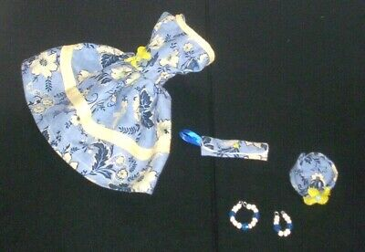 Pretty in Blue Dress Handmade For Vintage Silkstone Barbie Clothes Hat Purse