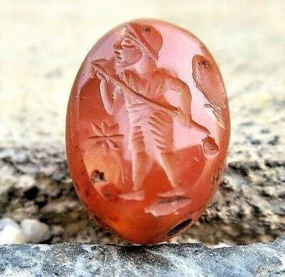 ANTIQUE BIG Carnelian Roman Intaglio MARS God of War & Spear Signet Seal Stamp