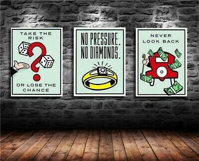 Alec Monopoly 3 Pieces Home Decor Room HD Canvas Print Wall Art Painting #01