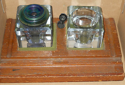 INKWELL* 2 Antique Square Glass Inkwells + PEN HOLDER + wood base * Sengbusch