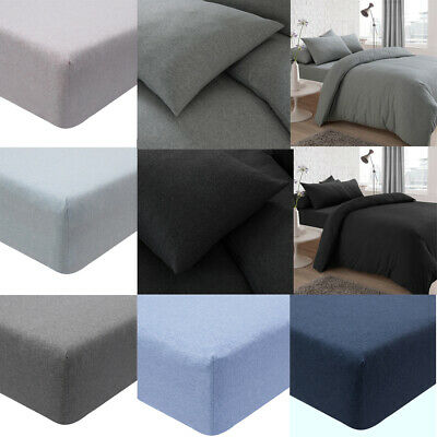 Jersey Melange Plain Yarn Fitted Sheets & Pillowcases Luxury Mattress Covers New