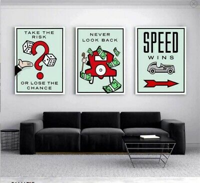 Alec Monopoly 3 Pieces Home Decor Room HD Canvas Print Wall Art Painting #02