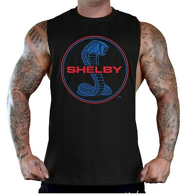 Mens Shelby Cobra Circle Black T-Shirt Tank Top Car Racing Classic Mustang GT350
