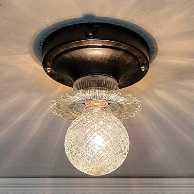 653b Vintage Antique art deco Globe Ceiling Light Fixture bath hall porch