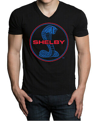 Men's Shelby Cobra Circle Black V-Neck Tee Shirt GT350 Mustang Racing Muscle Car