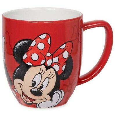 DISNEY 12 oz COFFEE MUG CUP MINNIE MOUSE PORTRAIT PARKS AUTHENTIC RED POLKA DOT