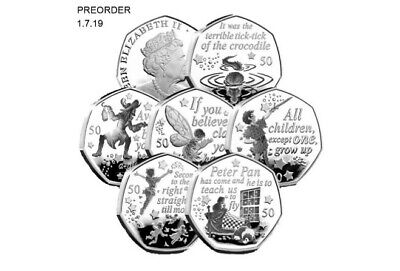 THE WORLD FIRST PETER PAN 50p 6 COIN COMPLETE SET