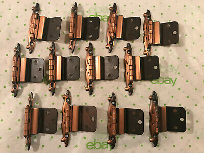 12 Vintage 1960's - 70's Era, Copper Kitchen Cabinet Hinges, New Old Stock