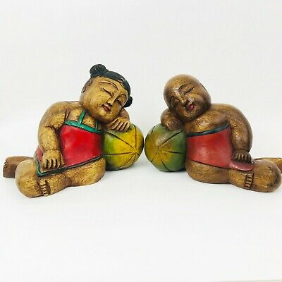 Vintage Chinese Good Luck Sleeping Children Babies Wooden Carved Painted