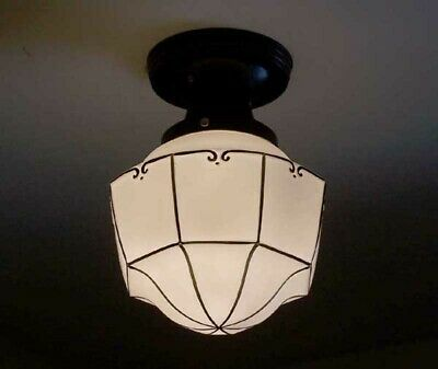 196z 1 of 2 Vintage Antique Ceiling Light lamp fixture hall porch