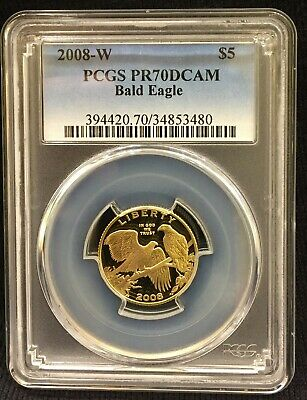 2008-W $5 Gold Bald Eagle Commemorative Proof ** Pcgs Pr70 Dcam ** True Auction!