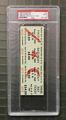 1969 Woodstock Music & Art Fair Three Day Full $24 Ticket August 15-17 PSA 10