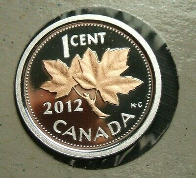 2012 1 Cent Penny Fine Silver & Gold Plated Canada Proof - From Mint Set