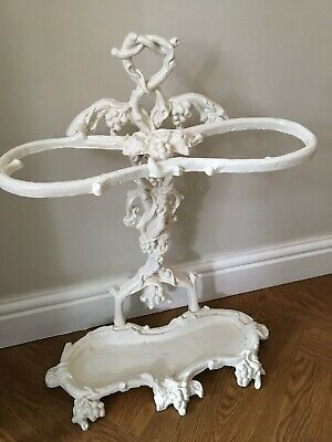 Vintage Cast Iron Coalbrookdale Style Umbrella / Stick Stand White