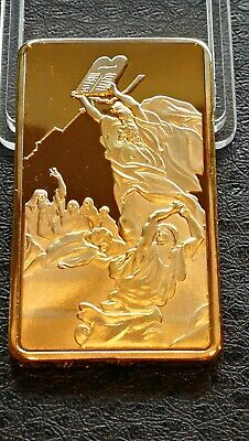 Collectables Clearance Gold plated Bullion Bar Moses Ten Commandments