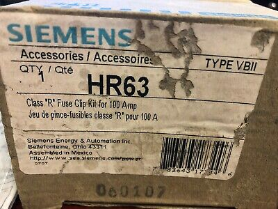 "New in Box - Siemens HR63 - Class ""R"" Fuse Clip Kit for 100A"