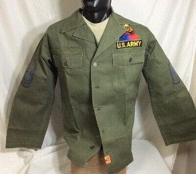 1940s WWII US ARMY MILIATRY HBT JACKET GREEN 13 STAR BUTTONS