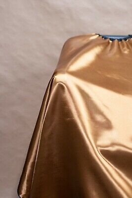 Gold Satin Haircut Cape Barber Gown Drape Stylist Cutting Handmade