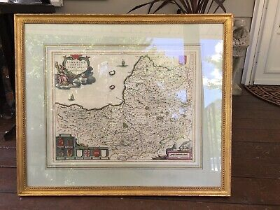 Antique Hand Colored Map Somerset Tensis Comitatvs