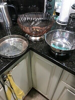 3 Piece  Silver Plated N Glass Serving Bowls N Tray