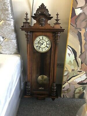 late 1800's Antique Victorian wall Clock with pendulum lovely item