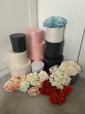 Bulk 11 Hat Boxes & Artificial Flowers - Roses & Hydrangea Stems BRAND NEW