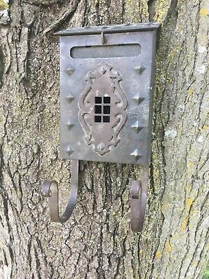 Vintage Tudor Arts and Crafts -  Mission Style - Cast Iron - Mail box