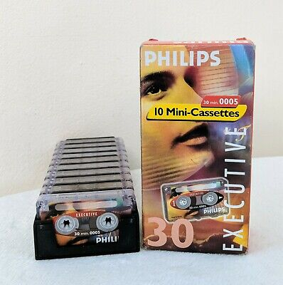 Philips Executive Dictation Mini Cassettes Tapes 30 Minutes LFH 0005 Pack of 10