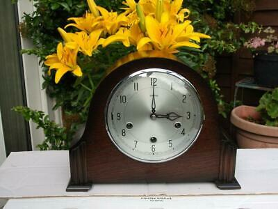 Smiths Dark Oak 8 Day Westminster Chiming Mantel Clock. 1954. Fully Overhauled.