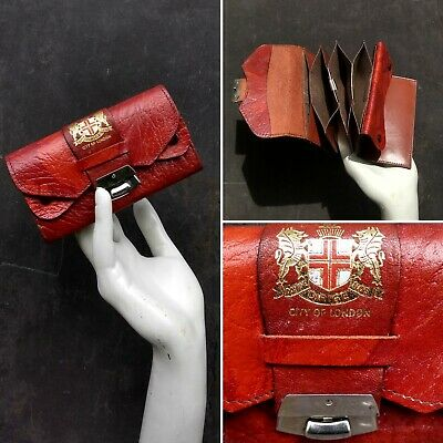 Vintage 1940s/50s  City Of London Mottled Red Leather Purse Coin Wallet Souvenir