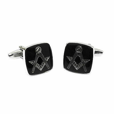 One Pair Masonic Novelty Cufflinks Black And Silver Plated Men Gift