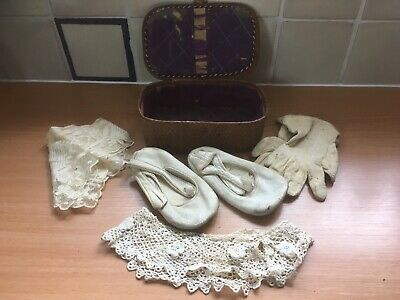 Antique christening lace, slippers and gloves in case Victorian Edwardian?