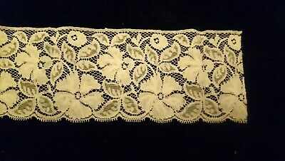 "Antique Edwardian scalloped edge lace 4"" width 71"" length"