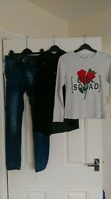 Girls outfit Next Denim Bottoms, Matalan Shirt And Primark Top 10-11 Years