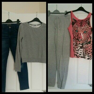 Girls outfits bundle tops,jogging bottoms,Jeans Next,New Look 10-11 Years
