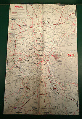 Vintage 1967 Avis A Car 2 Sided Map Of Boston Ma Logan Airport