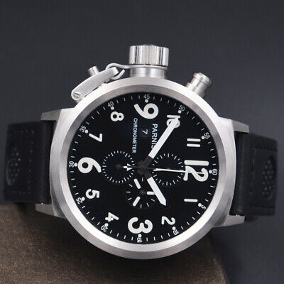 50mm PARNIS Watch Black dial White marks Date Quartz Chronograph mens Watch