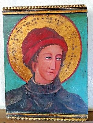 Art Painting Icon Barcelona Spain Religious Original Carved Wood Gilt /Gold Leaf