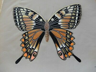 Original Butterfly Painting Vintage Monarch Butterfly Signed Wenchi Beautiful