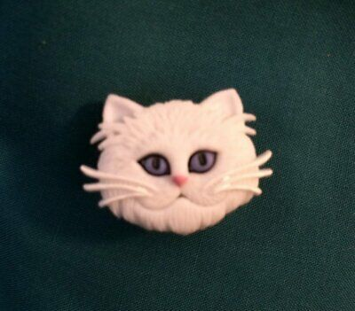 Cute White Fluffy CAT with BLUE EYES Clog Shoe Charms Holey Charm