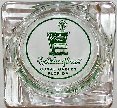 Vintage glass ashtray HOLIDAY INN old sign pictured Coral Gables Florida n-mint