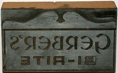 Vintage printing plate GERBERS BI RITE metal and wood in excellent++ condition