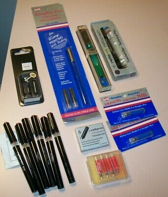 Lot of Vintage Alvin Drafting Supplies-Pen Parts, Reform Refograph, W. Germany