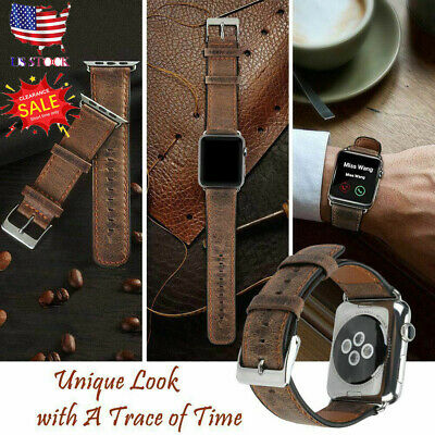 42mm44mm Genuine Leather Replacement Strap Band For Apple Watch Series 5 4 Brown
